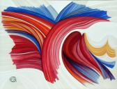 Eltérített erők, 1973, akril, vászon, 130x170 cm