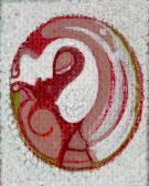 Kétoldalas kép, 1985 kl, akril, karton, 5,5x4,5 cm