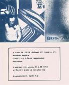 Kiállítása, Kassák Klub, 1978, meghívó külső